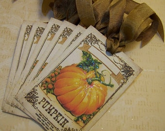 Thanksgiving Place Card Tags Thanksgiving Tags Pumpkin Tags Autumn Tags Vintage Style - Set of 6 or 9