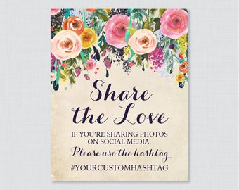 Floral Bridal Shower Hashtag Sign Printable - Shabby Chic Bridal Shower Social Media Hashtag Sign - Personalized Share the Love Sign 0002-A