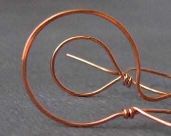 Big Copper Lasso Hoops - Wild West Series Artisan Handcrafted Hoop Earrings - 20 gauge