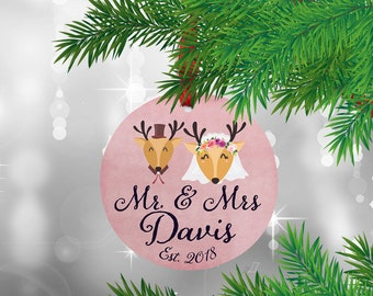 First Christmas ornament married, First Christmas married ornament, Our First Christmas married Ornament, Mr and Mrs Ornament.Deer ornament