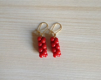 Fun Coral Peanut Earrings