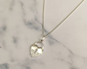 Sterling Silver necklace with Encrusted Heart Lock charm