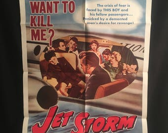 Original 1961 Jet Storm One Sheet Movie Poster, Richard Attenborough, Airplane, Noir