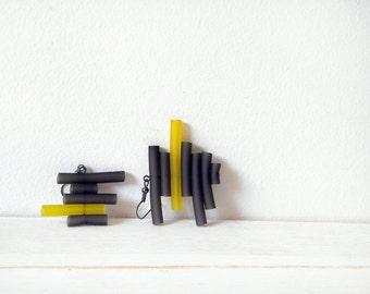 Grey yellow rubber earrings - minimal abstract geometric stripes minimalist dangle earrings
