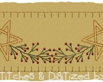MACHINE EMBROIDERY-Berry Star Garland Towel Band-Colorwork-Large Split (2 parts) Immediate Download