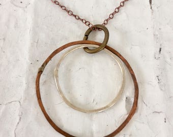 Sterling Silver and Copper Hand-Hammered Double Hoop Necklace