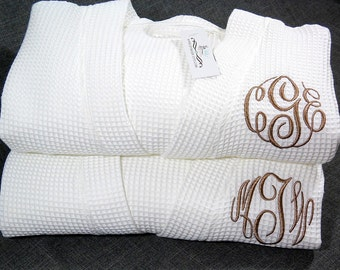 Cotton Anniversary Gift, Monogrammed Robes, Gift for Her, Gift for Him, Personalized Wedding Gift, Wedding Day Robes, 1733MC Set of 2 Robes