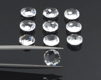 5 pc Genuine Natural Clear Crystal Quartz, 8mm Round Briolette, Double Checkerboard, Transparent Faceted Loose Gemstone, April Birthstone