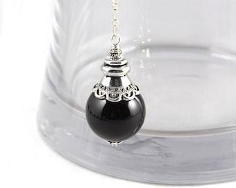 Crystal Pendulum, Black Onyx Pendulum, Crystal Necklace, Gemstone Pendulum, Divination, Crystal Pendulum Necklace, Wicca, Dowsing Pendulum