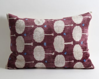 Velvet Ikat Pillow Cover - Purple Ikat Pillow Velvet Ikat Pillow Lumbar Pillow Cover Decorative Couch Purple Cream Pillow Handwoven Pillow