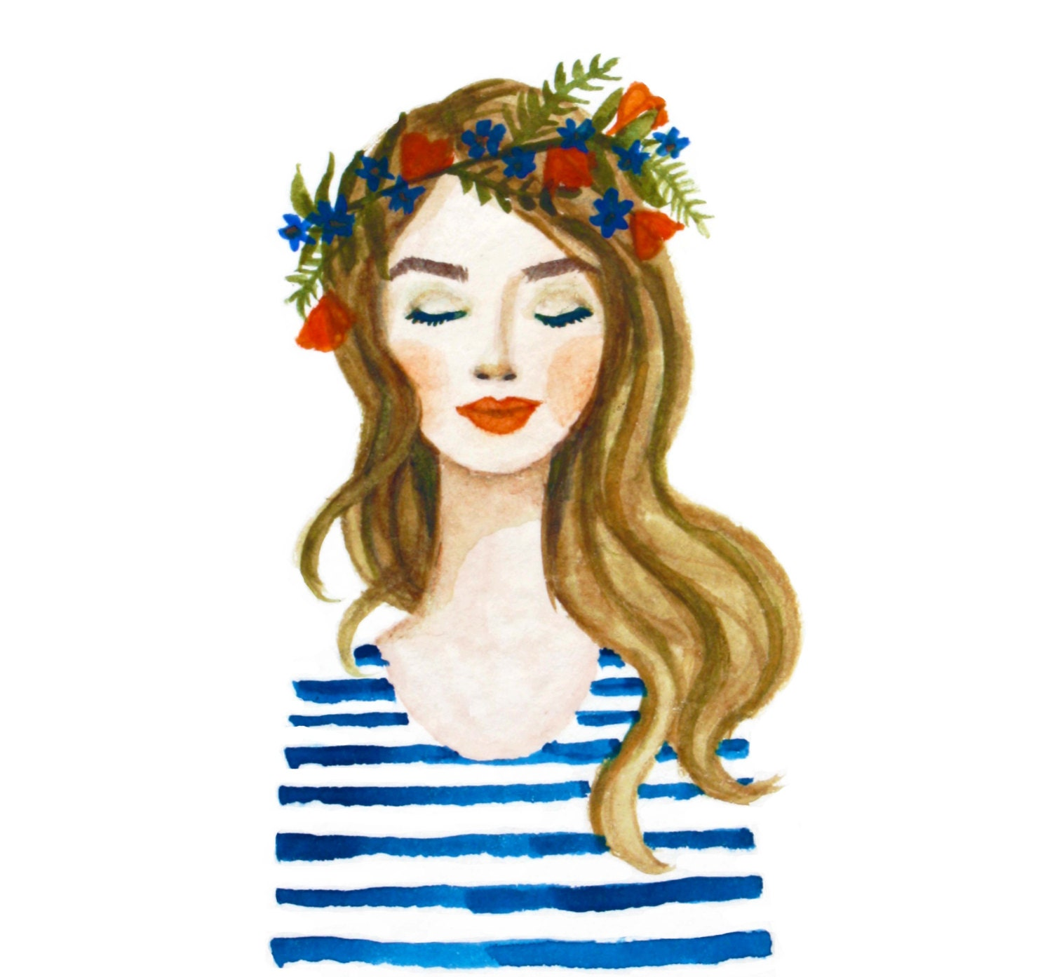 Girl with flower crown drawing - photo#48