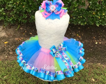 Disney Stitch Sewn Ribbon Trimmed TuTu ~~~Optional Matching Over The Top Hair Bow Available~~