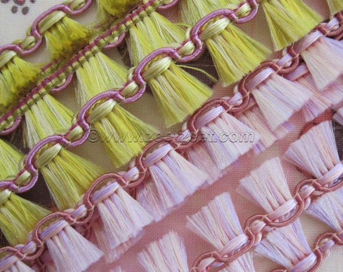 4 Yds BROOM FRINGE Trim - Pernilla's Journey - Tina Givens - 2 Yds Pink, 2 Yds Yellow