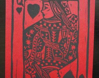 Queen of Hearts - block printed postcard