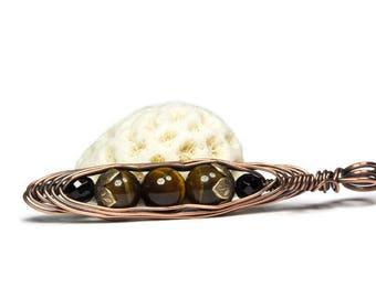 Three Peas in a Pod, Pea Pod Necklace, Tiger's Eye Jewelry, Copper Pea Pod Pendant, Wire Wrapped Pendant, Friendship Pendant
