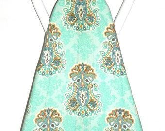 Ironing Board Cover - Aqua, beige, brown and teal floral fabric - Laundry and Housewares - Housewarming party - Sewing Room Kitchen