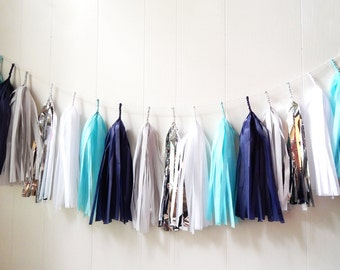 Free Shipping - Blue and Silver Tassel Garland - Wedding Decor - Room decor - Nursery Decor - Photo Prop