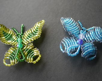 Pretty beadwork seed bead pair of butterfly brooches blue and green