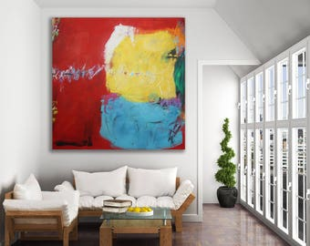Large Colorful Abstract Painting / Original Art / Red Abstract Art / Modern Art / Colorful Painting