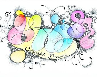 "Original Zentangle Art ""Colourful Dreams"" Print A4/A3 size Wall Art Wall Deco Fine Art Print"