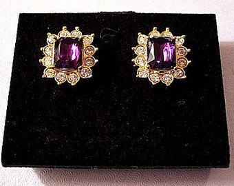 Purple Amethyst Square Clip On Earrings Gold Tone Vintage Avon Round Rhinestones Clear Stones