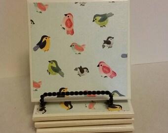 Birds ceramic coasters