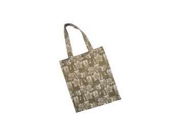 Handmade shopping tote bag, gray green flower pattern shopper, vintage mixed fabric, eco friendly fashion accessory gift bag made in Austria