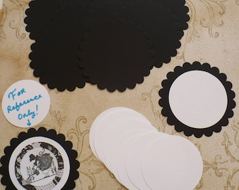 10  Black Scallop Circle Die Cut pieces made from Sizzix die cut from cardstock paper plain white circles Great for DIY Wedding Tags