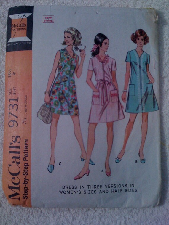 McCalls Sewing Pattern 9731 60s Misses Dresses Size 18 1/2 Sale