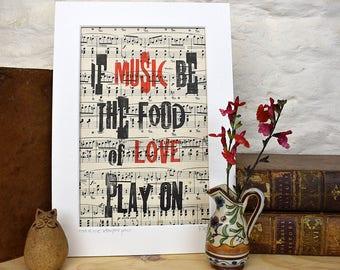 Shakespeare love letterpress print, food of love, music print.