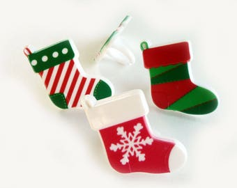 24 Christmas Stocking Cupcake Rings Cake Topper Party Favors Holiday Decorations