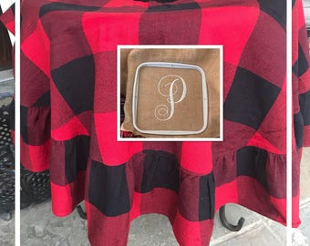 Plaid Buffalo Tree Skirt | Buffalo Check Tree Skirt | Personalized Tree Skirt | Christmas Tree Skirt  | Buffalo Plaid Christmas | Monogram