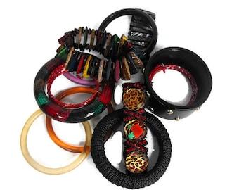 Vintage Bracelet Lot - 12 bracelets, bangles and stretchy, 1980's Bracelets, Fall Colors