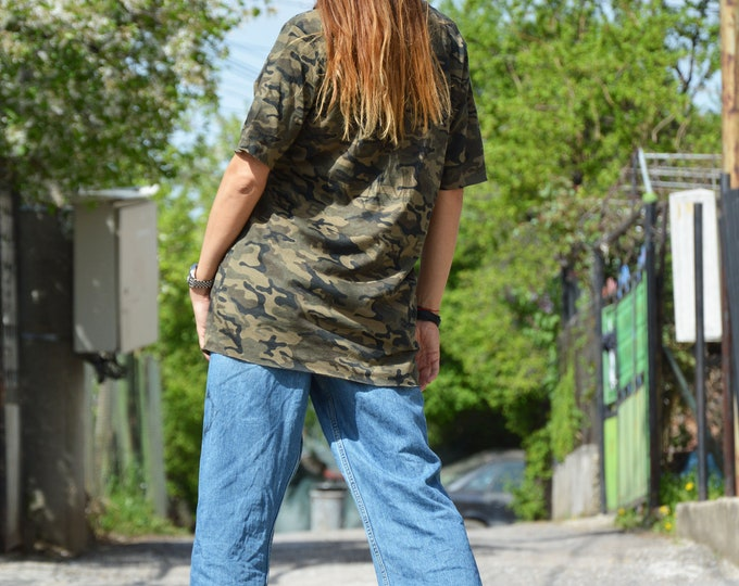 Military Long Modern T-shirt, Loose Soft Casual Shirt, Summer Short Sleeves Top, Maxi Stylish Wear by SSDfashion