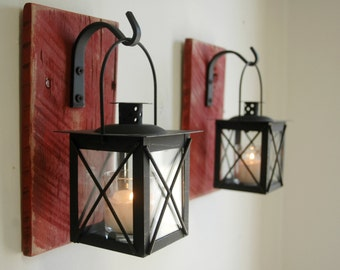 Lantern Pair (2) Wall Decor with wrought iron hooks on recycled wood board for unique home decor, bedroom decor