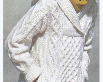 Aran Knit Hooded Sweater Super Sweet Pattern