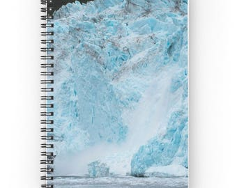 Teal Notebook, Winter Landscape Notebook, Travel Diary, Travel Journal, Glacier Spiral Notebook, Gift for Nature Lover, Nature Photography