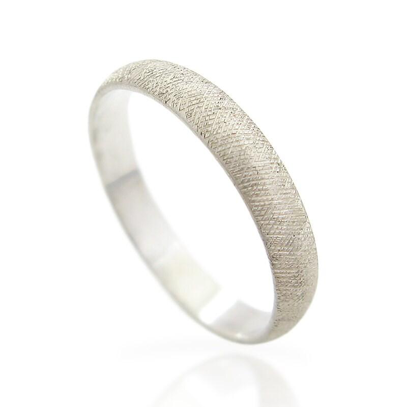 14K White gold band Men s wedding ring His wedding ring