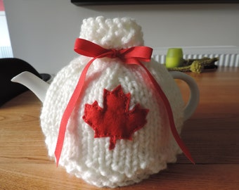 Hand Knit, Canadian Teapot Cosy, White with Red Maple Leaf (front & back)