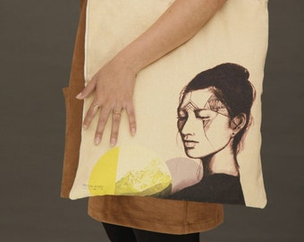 Printed cotton tote bags, Canvas tote bag, shoulder bag, market bag, beach bag, vegan tote bag, vegan bag, woman portrait, shopping bag