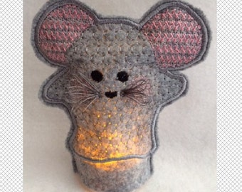 Gray Felt Mouse - Flameless Tealight Cover - ITH - embroidery design - instant download - 4x4 hoop - In The Hoop