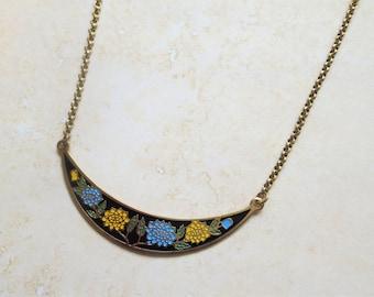 Bib Necklace Vintage Cloisonne Bib Pendant Vintage Enamel Flower Necklace