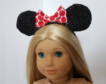 American Girl Doll Minnie Mouse Ears, Headband for 18 Inch Doll With Red Bow