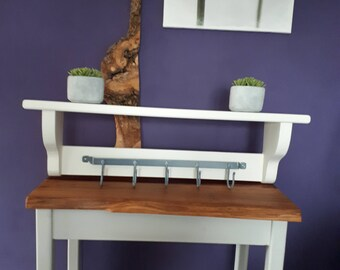 Hand made wooden coat rack with shelf