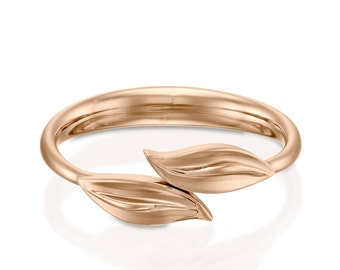 Rose gold ring, Rose gold engagement ring, Rose gold leaf ring, Rose gold wedding band, Flower ring gold, 14k rose gold ring, Leaf ring