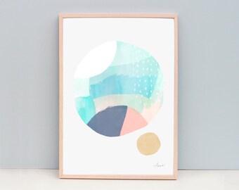 Contemporary Art Print, Circle Art, Modern Abstract Painting, Watercolor Wall Art, Watercolor Art Print, Art Print - Abstract 102