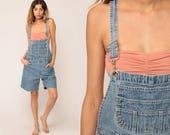 90s Overall Shorts Denim Shorts Bib Shortalls Jean Romper Playsuit Grunge Suspender Faded Blue Woman 1990s Vintage Medium