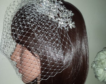"Birdcage wedding bridal veil. Large Diamante sliver tone clip with detachable  9"" Ivory French net veil. FREE UK POSTAGE"