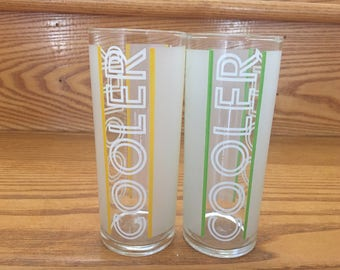 2 Vintage Retro Libbey Frosted Green and Yellow Cooler Glasses or Tumblers