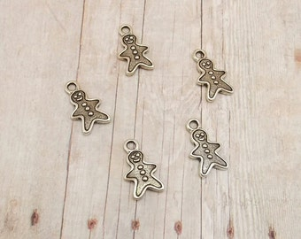 Set of 6 Tierra Cast Silver Pewter Charms - Gingerbread Man - Cookie - Antique Silver Finish